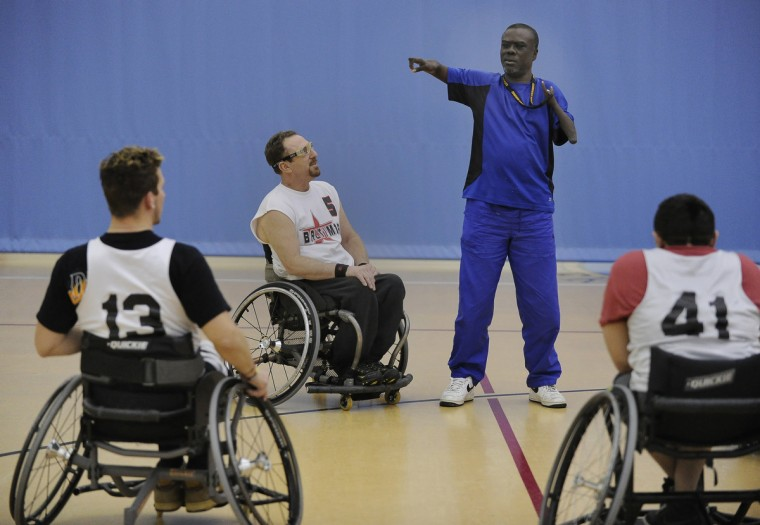 Coach Eddie Diggs directs practice of the Maryland Ravens, the number 1 ranked Division III wheelchair basketball team in the country. (Gene Sweeney Jr./Baltimore Sun)