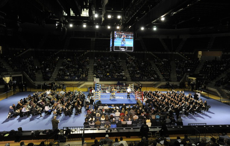 The United States Naval Academy holds its 72nd annual Brigade Boxing Championships held at Alumni Hall. As part of the academy's physical education all midshipmen are required to participate in boxing. Boxing is also offered as a club sport. (Lloyd Fox/Baltimore Sun)
