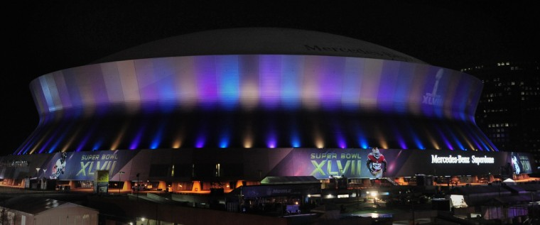The Mercedes Benz Super Dome is illuminated at night in preparation for Sunday's Super Bowl XLVII in New Orleans, Louisiana. (Gene Sweeney Jr./Baltimore Sun/MCT) ORG XMIT: 1134410