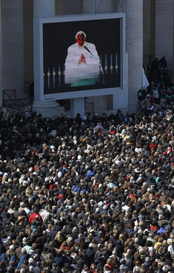 The faithful fill St. Peter's Square as Pope Benedict XVI gives his final general audience Wednesday, February 27, 2013, the eve of his retirement as leader of the world's Roman Catholics at St. Peter's Square, Vatican City. (Michael Kappeler/Zuma Press/MCT) ORG XMIT: 1135441