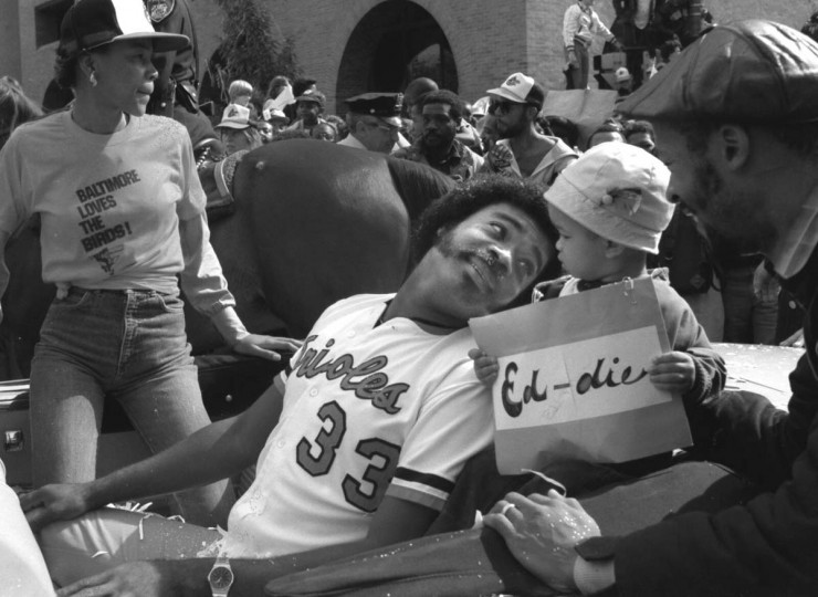 Oct. 1983 — Eddie Murray is shown at the victory parade after the Orioles won the 1983 World Series. (Baltimore Sun)