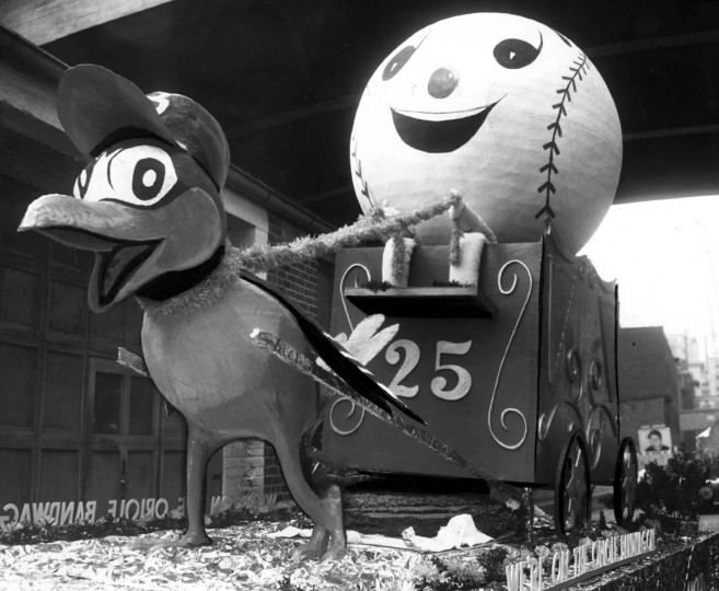 April 15, 1954 — Orioles' Opening Day Parade featured floats like this one of the Oriole Bird. (Frank Kalita/Baltimore Sun)