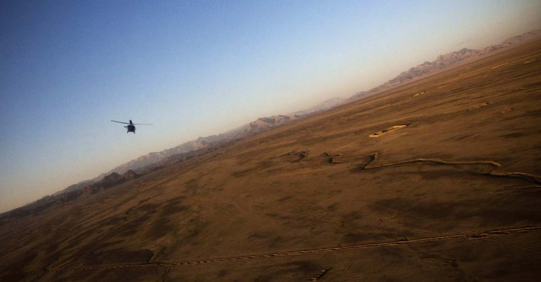 A U.S. Army Blackhawk helicopter flies above Kandahar Province, Afghanistan, February 5, 2013. (Andrew Burton/Reuters)