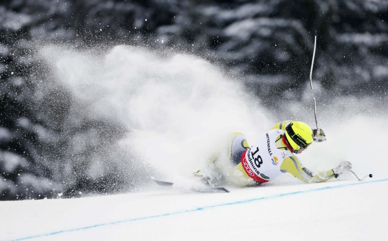 Kjetil Jansrud of Norway falls during the men's Super G race at the World Alpine Skiing Championships in Schladming February 6, 2013. (Dominic Ebenbichler/Reuters)