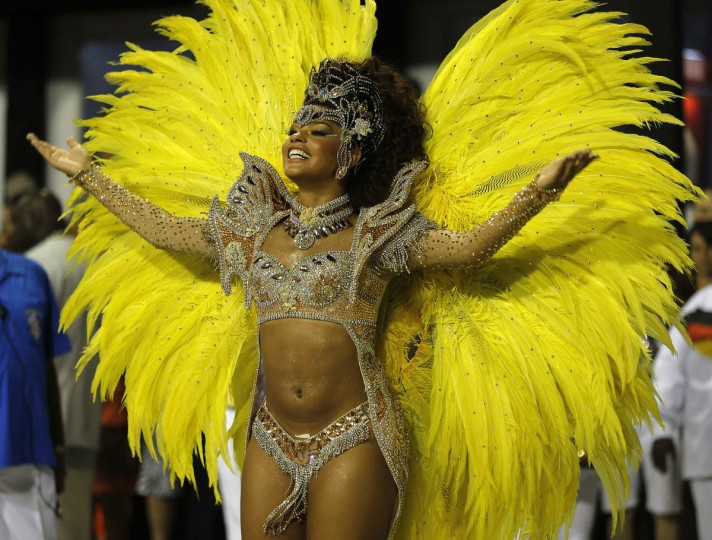 Drum Queen Juliana Alves of the Unidos da Tijuca samba school dances on the first night of the annual carnival parade in Rio de Janeiro's Sambadrome, February 10, 2013. (Sergio Moraes/Reuters)