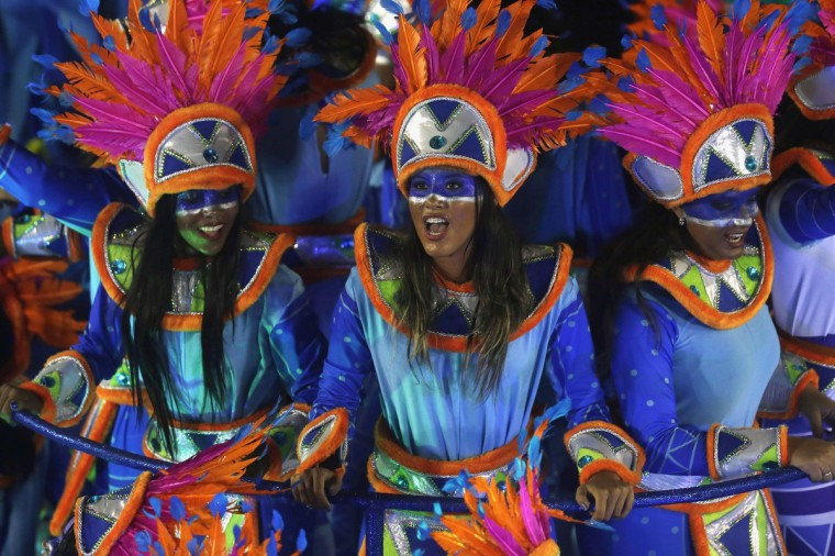 Revellers of Portela samba school participate in the annual Carnival parade in Rio de Janeiro's Sambadrome February 11, 2013. (Ricardo Moraes/Reuters)
