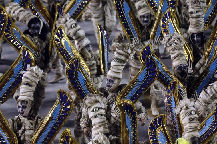 Revellers of the Salgueiro samba school participate on the first night of the annual carnival parade in Rio de Janeiro's Sambadrome, February 10, 2013. (Ricardo Moraes/Reuters)
