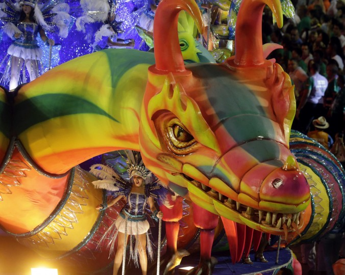 Revellers from the Vila Isabel samba school participate in the annual Carnival parade in Rio de Janeiro's Sambadrome February 12, 2013. (Ricardo Moraes/Reuters)