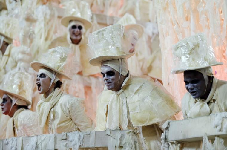 Revellers of the Unidos da Tijuca samba school participate in the annual carnival parade at Rio de Janeiro's Sambadrome, February 10, 2013. (Sergio Moraes/Reuters)