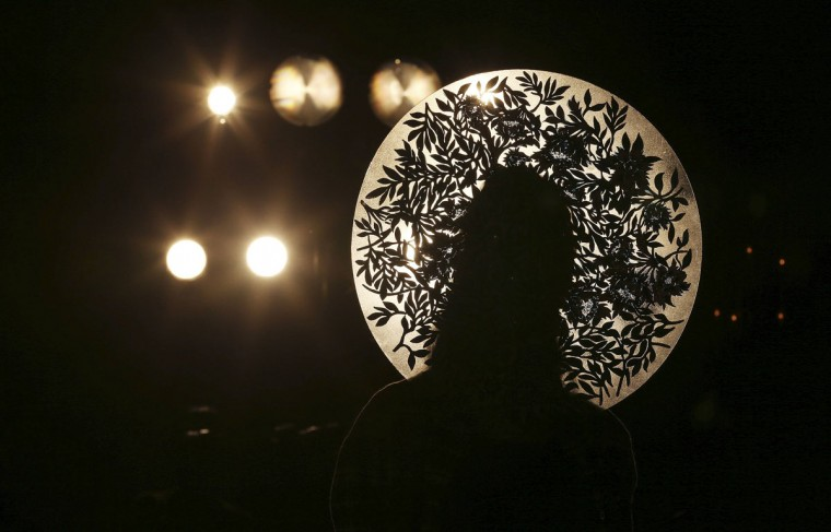 A model presents a creation from the Fyodor Golan Autumn/Winter 2013 collection during London Fashion Week. (Suzanne Plunkett/Reuters)