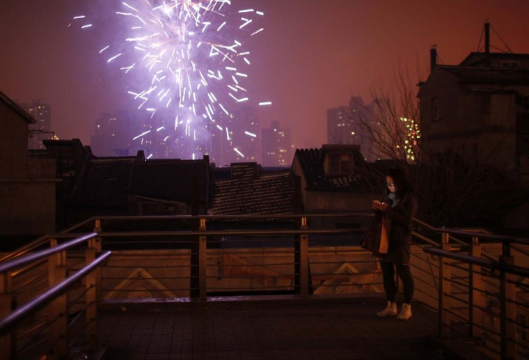 A woman looks at her mobile phone as fireworks light up the skyline of Shanghai in celebrations of Chinese New Year early February 10, 2013. The Lunar New Year, or Spring Festival, begins on February 10 and marks the start of the Year of the Snake, according to the Chinese zodiac. (Carlos Barria/Reuters)