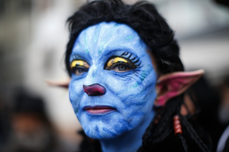 A Carnival reveller dressed as Avatar takes part in the traditional Rose Monday street carnival parade in Mainz February 11, 2013. The Rose Monday parades in Cologne, Mainz and Duesseldorf are the highlight of the German street carnival season. (Lisi Niesner/Reuters)