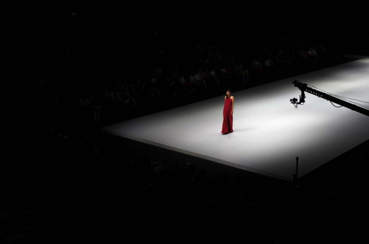 A model presents a creation of Auguste Soesastro during Indonesia Fashion Week 2013 in Jakarta February 14, 2013. Around 208 Indonesian fashion designers participated in the four day event, which ends on February 17. (Beawiharta/Reuters)