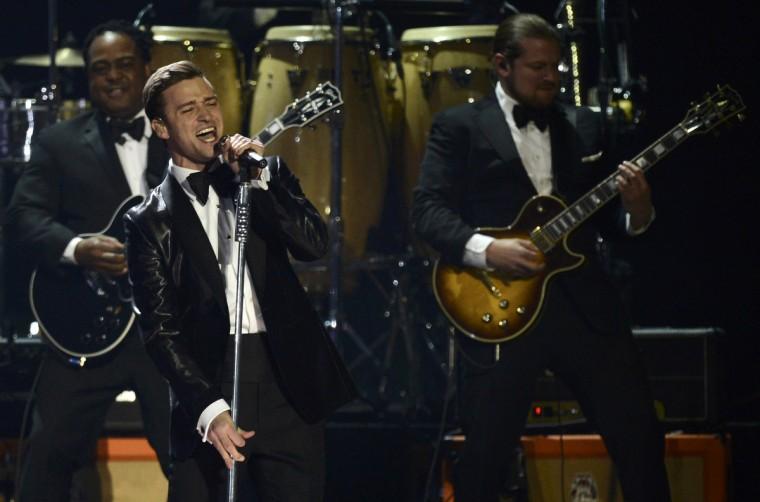 U.S. singer Justin Timberlake performs during the BRIT Awards, celebrating British pop music, at the O2 Arena in London. (Dylan Martinez/Reuters)
