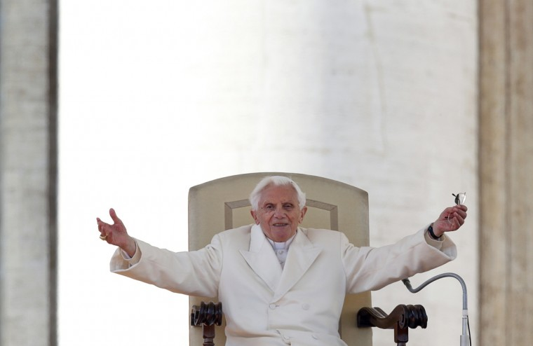 "Pope Benedict XVI greets the crowd during last general audience in St Peter's Square at the Vatican. Pope Benedict bid an emotional farewell at his last general audience on Wednesday, acknowledging the ""rough seas"" that marked his papacy ""when it seemed that the Lord was sleeping."" (Alessandro Bianchi/Reuters)"