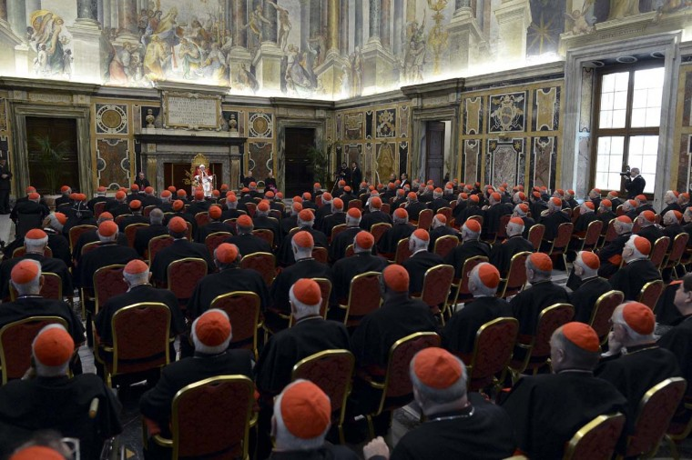 Pope Benedict XVI addresses during the last meeting with the Cardinals at the Vatican, February 28, 2013. (Osservatore Romano/Reuters)