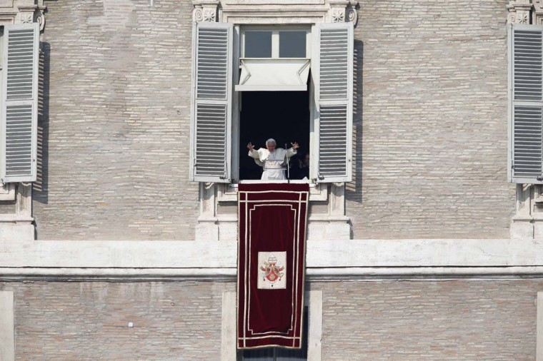 Pope Benedict XVI leads the Sunday Angelus prayer in Saint Peter's Square at the Vatican February 17, 2013. Pope Benedict, speaking before a larger than usual crowd at his penultimate Sunday address, asked the faithful to pray for him and for the next pope. (Tony Gentile/Reuters)