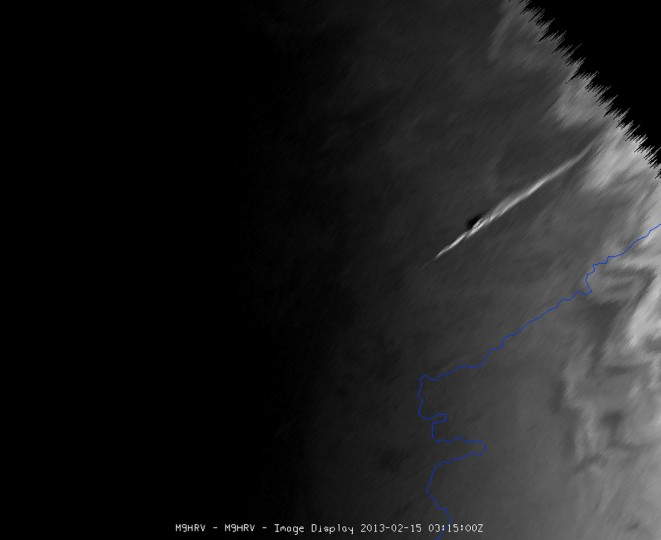 A satellite image taken by EUMETSAT Meteosat-9 shows the vapor trail left by the meteorite that exploded over central Russia on February 15, 2013. (EUMETSAT Photo / Handout / Reuters)