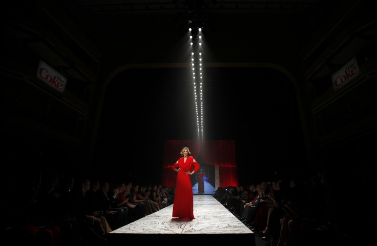 Actress Brenda Strong presents a creation during the The Heart Truth's Red Dress Collection fashion show in New York. (Carlo Allegri/Reuters)