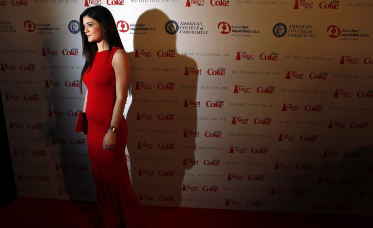 TV personality Kylie Jenner arrives before the The Heart Truth's Red Dress Collection fashion show in New York. (Carlo Allegri/Reuters)