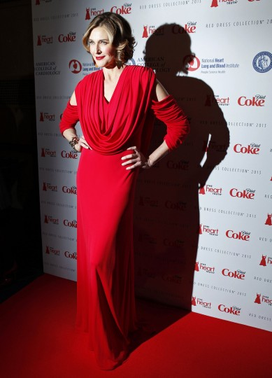 Actress Brenda Strong arrives before the The Heart Truth's Red Dress Collection fashion show in New York. (Carlo Allegri/Reuters)