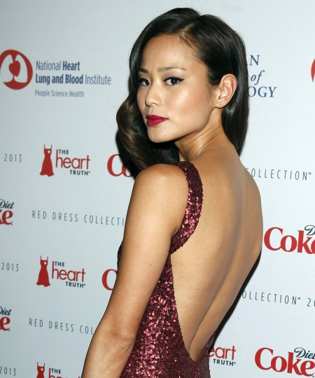 Actress Jamie Chung arrives before the The Heart Truth's Red Dress Collection fashion show in New York. (Carlo Allegri/Reuters)