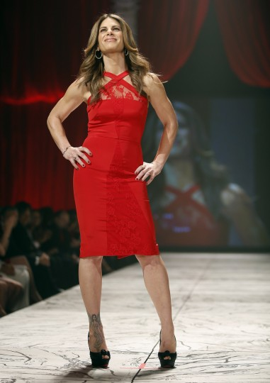 TV personality Jillian Michaels presents a creation during the The Heart Truth's Red Dress Collection fashion show in New York. (Carlo Allegri/Reuters)