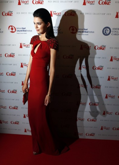 TV personality Kendall Jenner arrives before the The Heart Truth's Red Dress Collection fashion show in New York. (Carlo Allegri/Reuters)