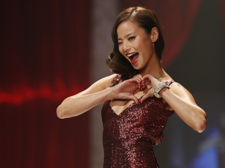 Actress Jamie Chung presents a creation during The Heart Truth's Red Dress Collection fashion show in New York. (Carlo Allegri/Reuters)