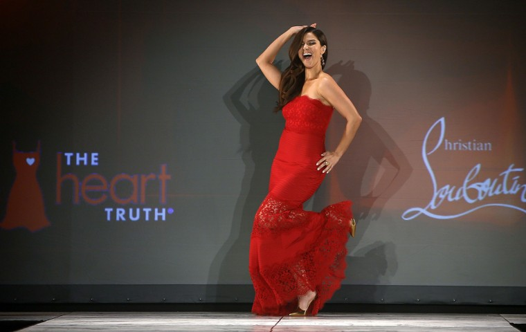 Actress Roselyn Sanchez presents a creation during the The Heart Truth's Red Dress Collection fashion show in New York. (Carlo Allegri/Reuters)