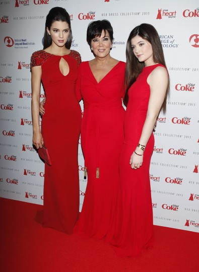 TV personalities Kendall Jenner (L), Kris Jenner and Kylie Jenner (R) arrive before the The Heart Truth's Red Dress Collection fashion show in New York. (Carlo Allegri/Reuters)