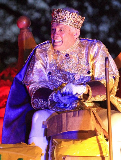 Actor Bailey reigns as King of Bacchus as members of the Krewe of Bacchus parade down St. Charles Avenue during the weekend before Mardi Gras in New Orleans, Louisiana February 10, 2013. (Sean Gardner/Reuters)