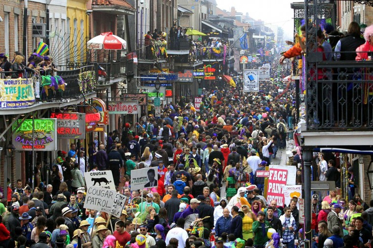 Crowds flood Bourbon Street on Mardi Gras Day in New Orleans, Louisiana February 12, 2013. (Sean Gardner/Reuters)