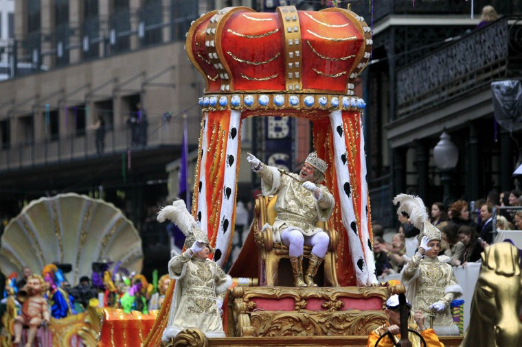 Rex, King of Carnival waves to his subjects as he parades down St. Charles Avenue on Mardi Gras Day in New Orleans, Louisiana February 12, 2013. (Sean Gardner/Reuters)