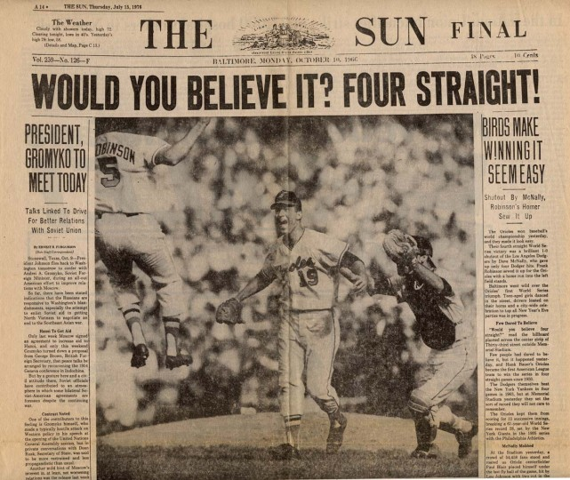 Oct. 10, 1966 — Front page of the Baltimore Sun.