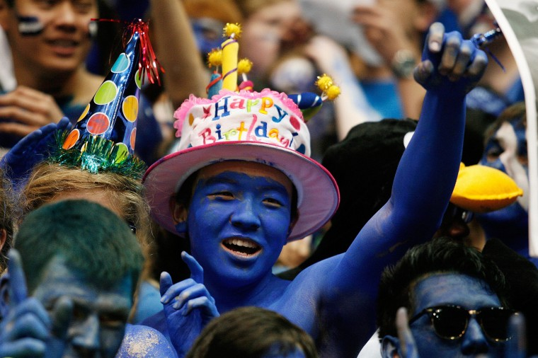 A Duke Blue Devils fan recognizes Duke Blue Devils head coach Mike Krzyzewski's birthday before their game against the North Carolina Tar Heels at Cameron Indoor Stadium. (Mark Dolejs/USA TODAY Sports)