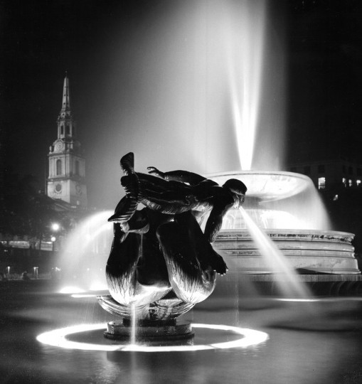"February 9, 1961 - 2nd prize Pictorial class, ""Misty Mermaid,"" Trafalgar Square, London. Photo by Richard Stacks/Baltimore Sun"