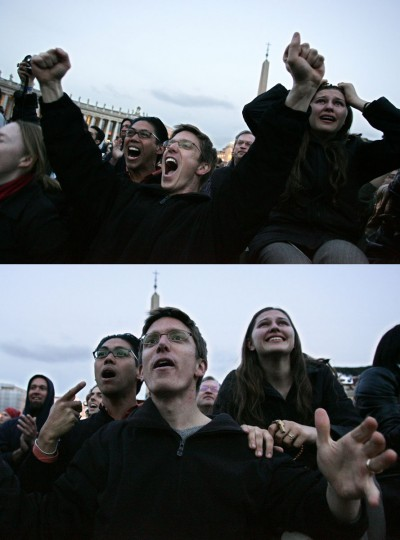 On top, people celebrate thinking that smoke from the chimney on the Sistine Chapel is white. On the bottom, people react to the smoke turning black as it rose from the chimney, indicating that the cardinals failed to elect a new pope in the first ballot of their secret conclave on April 18, 2005 at the Vatican City. More than 10,000 people watching from Saint Peter's Square initially broke into ecstatic applause, thinking the election had been successful because the first puffs of smoke appeared white, before the narrow chimney atop the chapel began billowing black fumes. (Giulio Napolitano/AFP/Getty Images)