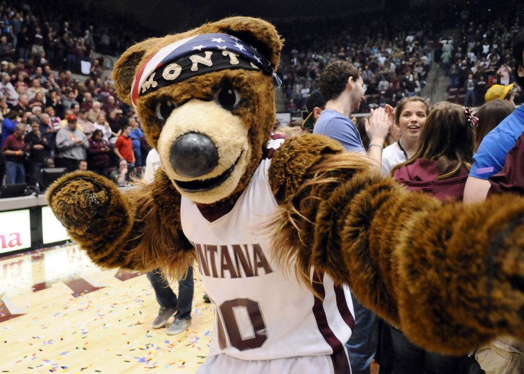 Montana Grizzlies mascot Monte celebrates after a beating the Weber State Wildcats 67-64 during the championship game of the Big Sky Conference tournament at Dahlberg Arena. (James Snook-USA TODAY Sports)