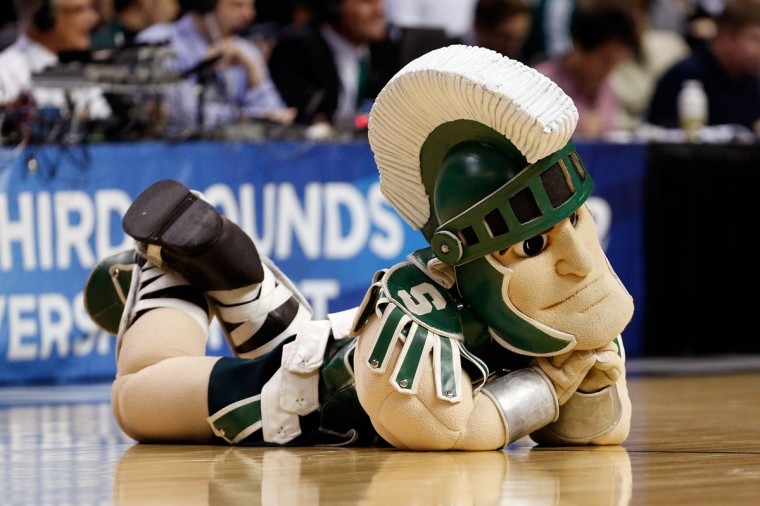 Sparty, the mascot for the Michigan State Spartans performs against the Valparaiso Crusaders during the second round of the 2013 NCAA Men's Basketball Tournament at at The Palace of Auburn Hills on March 21, 2013 in Auburn Hills, Michigan.  (Photo by Gregory Shamus/Getty Images)