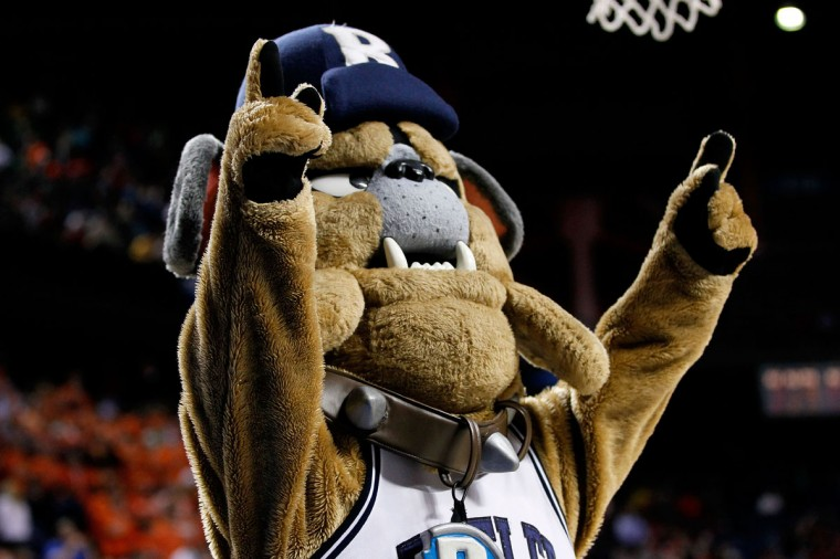Butler Blue III, mascot for the Butler Bulldogs, performs in the second half against the Bucknell Bison during the second round of the 2013 NCAA Men's Basketball Tournament at the Rupp Arena on March 21, 2013 in Lexington, Kentucky. Butler won 68-56. (Photo by Kevin C. Cox/Getty Images)