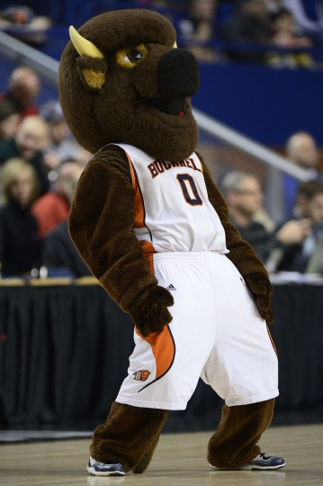 The Bucknell Bison mascot performs in the first half against the Butler Bulldogs during the second round of the 2013 NCAA tournament at Rupp Arena. Butler defeated Bucknell 68-56.  Mandatory Credit: Jamie Rhodes-USA TODAY Sports
