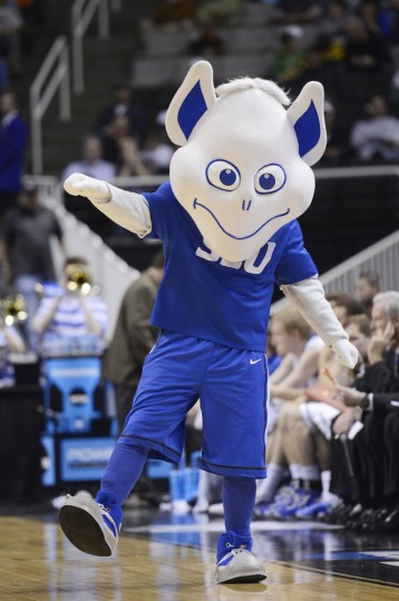 The Saint Louis Billikens mascot performs in the second half against the New Mexico State Aggies during the second round of the 2013 NCAA Men's Basketball Tournament at HP Pavilion on March 21, 2013 in San Jose, California.  (Photo by Thearon W. Henderson/Getty Images)