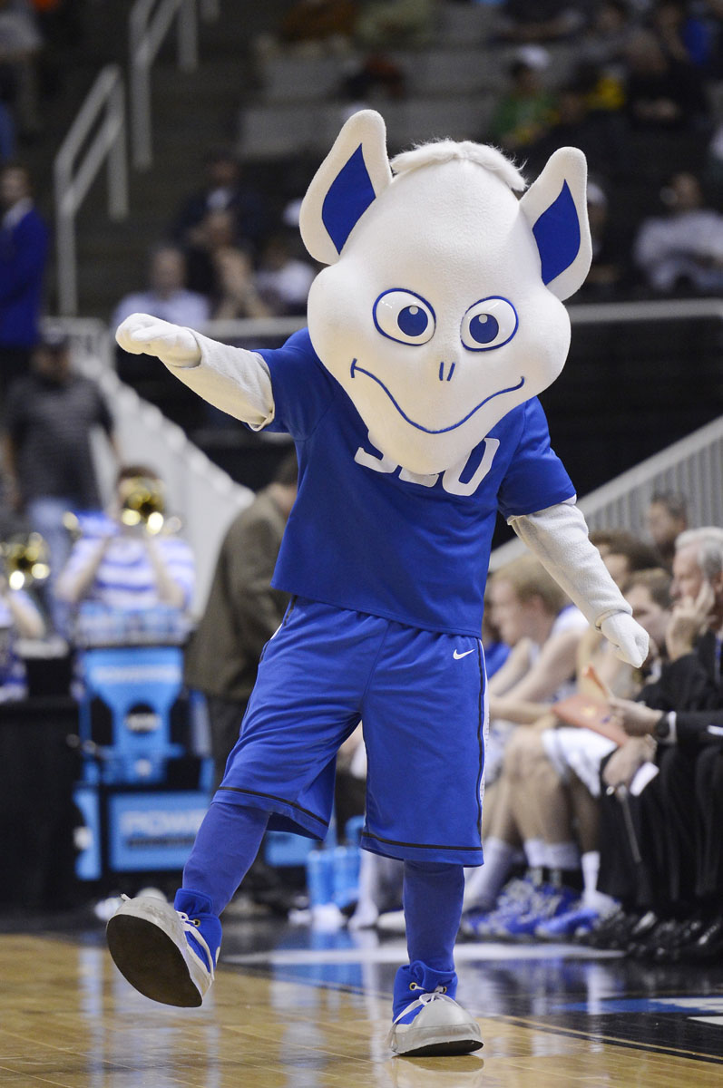 The Saint Louis Billikens mascot performs in the second half against ... Ncaa College Mascots