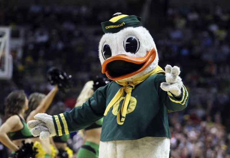 Oregon Ducks mascot during a timeout against the Oklahoma State Cowboys during the first half of the second round of the 2013 NCAA tournament at HP Pavilion. (Kelley L Cox-USA TODAY Sports)
