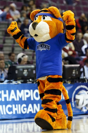 Memphis mascot Pouncer cheers in the second half against St. Mary's Gaels during the second round of the 2013 NCAA tournament at The Palace. Mandatory Credit: Rick Osentoski-USA TODAY Sports