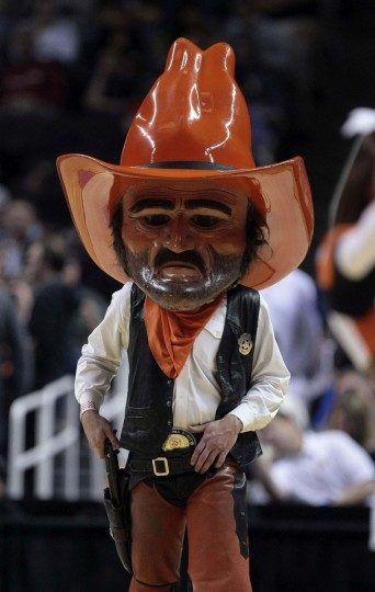 Oklahoma State Cowboys mascot during a timeout against the Oregon Ducks during the first half of the second round of the 2013 NCAA tournament at HP Pavilion. (Kelley L Cox-USA TODAY Sports)