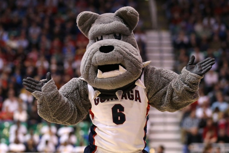 The Gonzaga Bulldogs mascot performs on the court while taking on the Southern University Jaguars during the second round of the 2013 NCAA Men's Basketball Tournament at EnergySolutions Arena on March 21, 2013 in Salt Lake City, Utah.  (Photo by Streeter Lecka/Getty Images)