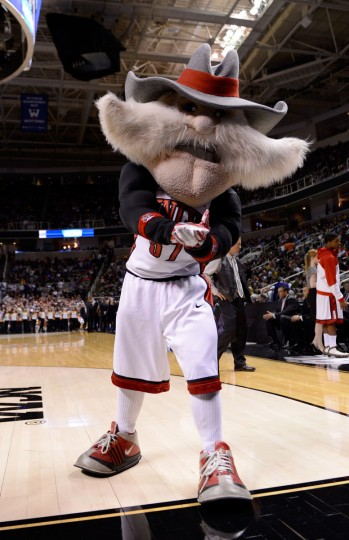 The UNLV Rebels mascot walks on the court during a game stoppage against the California Golden Bears during the second round of the 2013 NCAA Men's Basketball Tournament at HP Pavilion on March 21, 2013 in San Jose, California.  (Photo by Thearon W. Henderson/Getty Images)