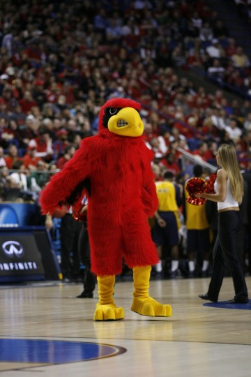 Louisville Cardinals mascot during the game against the North Carolina A&T Aggies during the second round of the 2013 NCAA tournament at Rupp Arena. Louisville defeated North Carolina A&T 79-48.